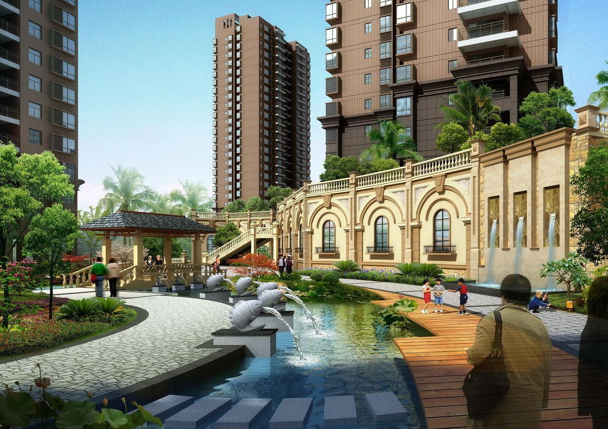 项目采用简约现代的德式建筑风格立面,借势坡地落差规划,