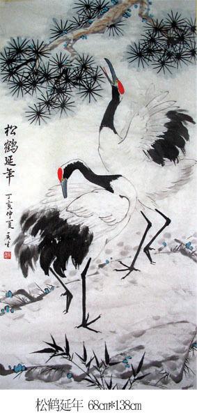 爱仙鹤,画仙鹤,多次到动物园画速写,观察仙鹤生活习性,临摹学习